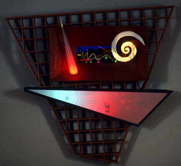 84inch w x 84inch h x 14inch d Wood, Plexiglass, Colored Lights, Gold Leaf, Aluminum, Plaster, Glass, and Electronics  © Art Spellings 1985