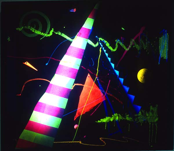 30inch w x 36inch h Wood, Fabric, Plaster, Glass, Colored Lights, and Electronics  © Art Spellings 1984