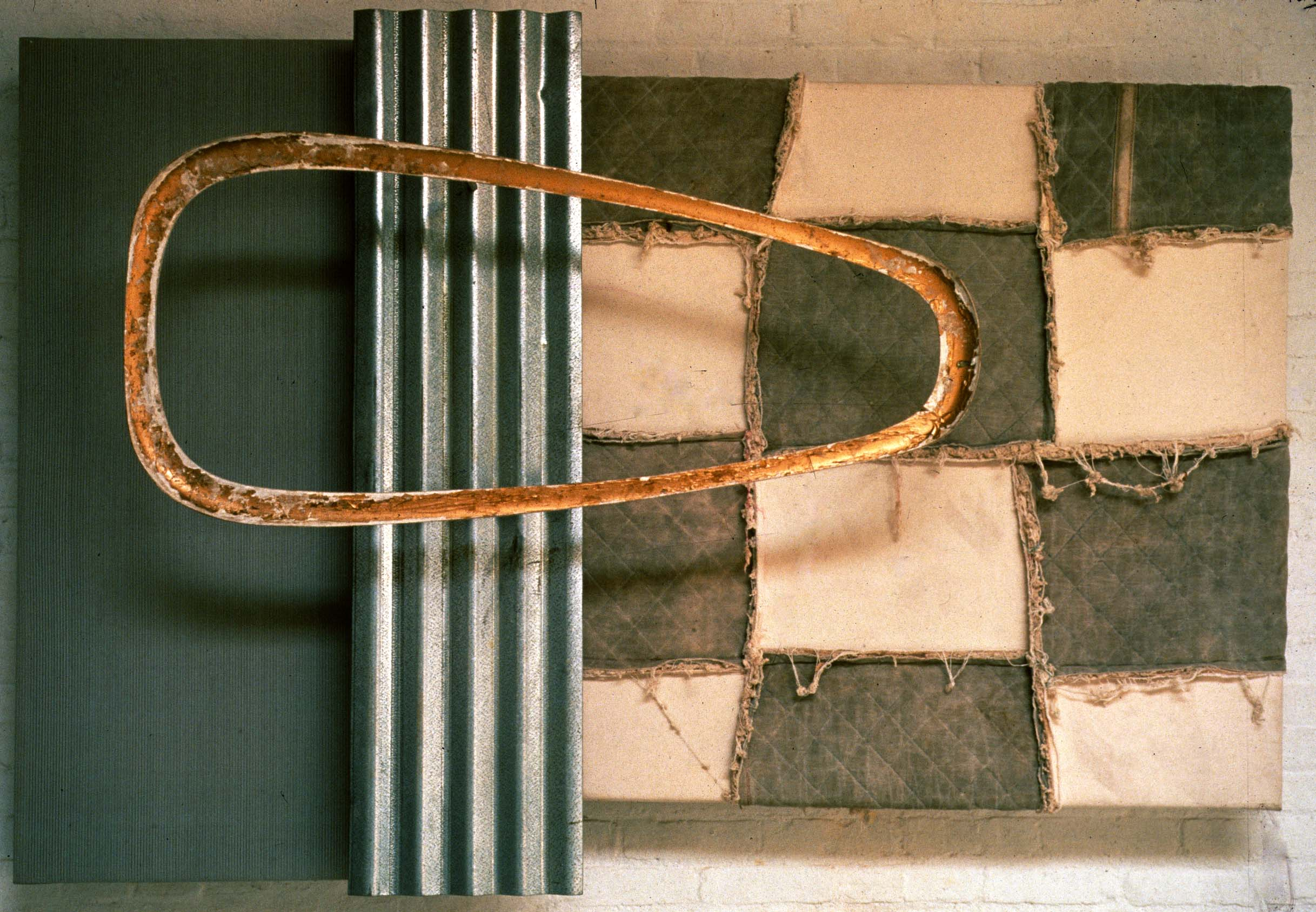 84h x 71w x 17d Wire Mesh, Wood, Gold Leaf, Galvanzed Steel , Canvas, & Quilted Duct © Art Spellings 1989